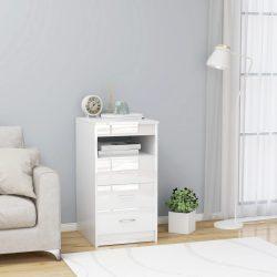 magasfényű fehér forgácslap fiókos szekrény 40 x 50 x 76 cm