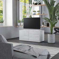 magasfényű fehér forgácslap TV-szekrény 80 x 34 x 36 cm