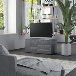 magasfényű szürke forgácslap TV-szekrény 80 x 34 x 36 cm