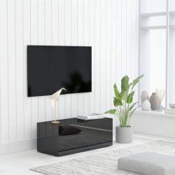 magasfényű fekete forgácslap TV-szekrény 80 x 34 x 30 cm