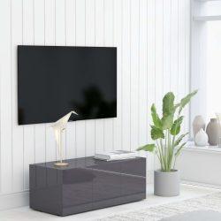magasfényű szürke forgácslap TV-szekrény 80 x 34 x 30 cm