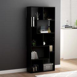 fekete forgácslap könyvszekrény 67 x 24 x 161 cm