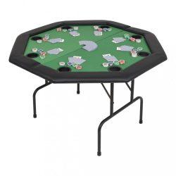 8 személyes, nyolcszögletes, zöld összecsukható pókerasztal