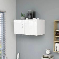 magasfényű fehér forgácslap fali szekrény 80 x 39 x 40 cm