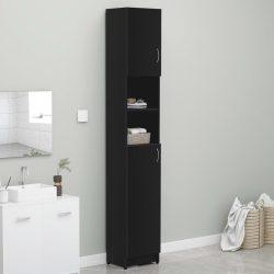 fekete forgácslap fürdőszobaszekrény 32 x 25,5 x 190 cm
