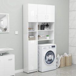 magasfényű fehér forgácslap fürdőszobaszekrény 32x25,5x190 cm