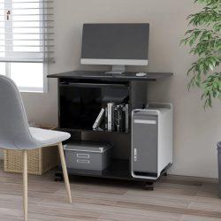 magasfényű fekete forgácslap számítógépasztal 80 x 50 x 75 cm