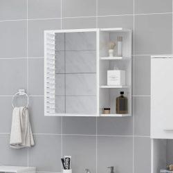 magasfényű fehér forgácslap tükrös szekrény 62,5 x 20,5 x 64 cm