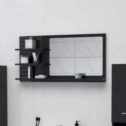 magasfényű fekete forgácslap fürdőszobai tükör 90x10,5x45 cm