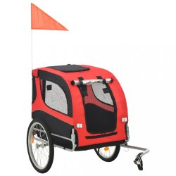 piros és fekete kutyaszállító kerékpár-utánfutó