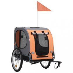narancssárga és barna kutyaszállító kerékpár-utánfutó